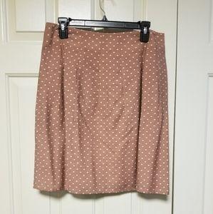 Ann Taylor Loft Tan & White Polkadot Skirt